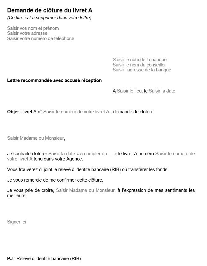 Lettre De Cloture D Un Livret A - Exemple de Lettre
